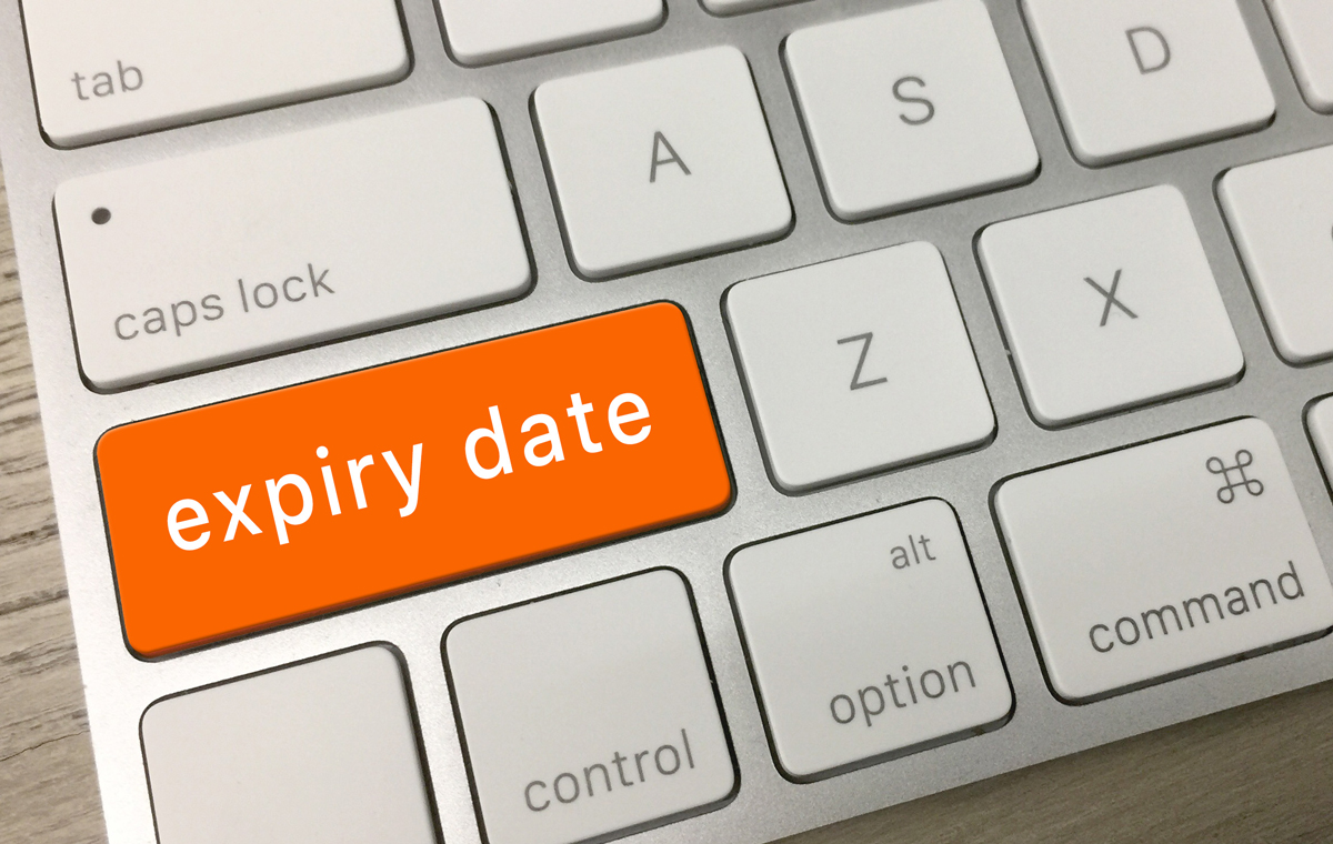 keyboard button showing expiry date